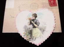 ANTIQUE VALENTINE TINTED CARD BLANK + ENVELOPE POSTED NY USA 2 CENTS STAMP 1907